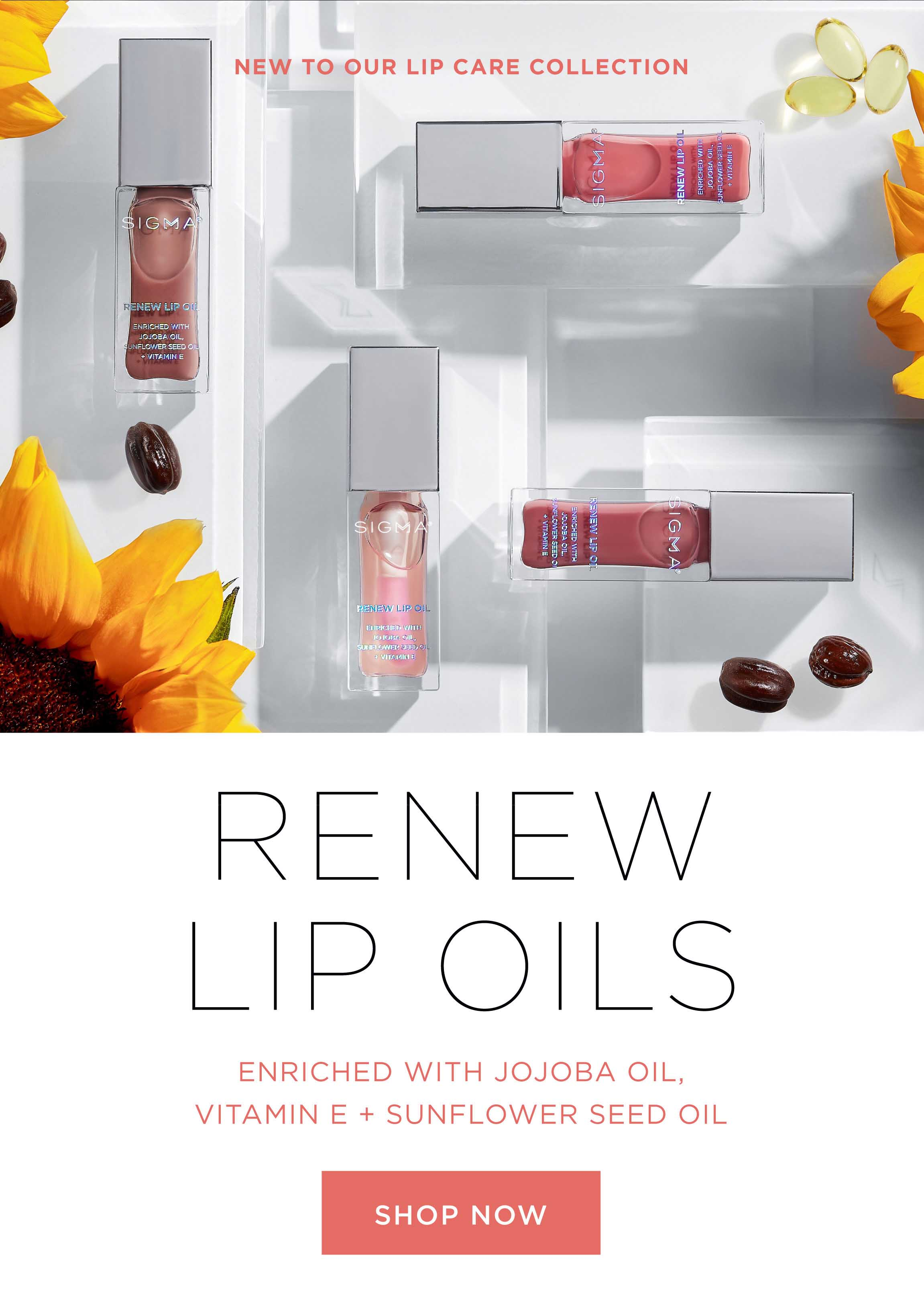 NEW TO OUR LIP CARE COLLECTION RENEW LIP OILS