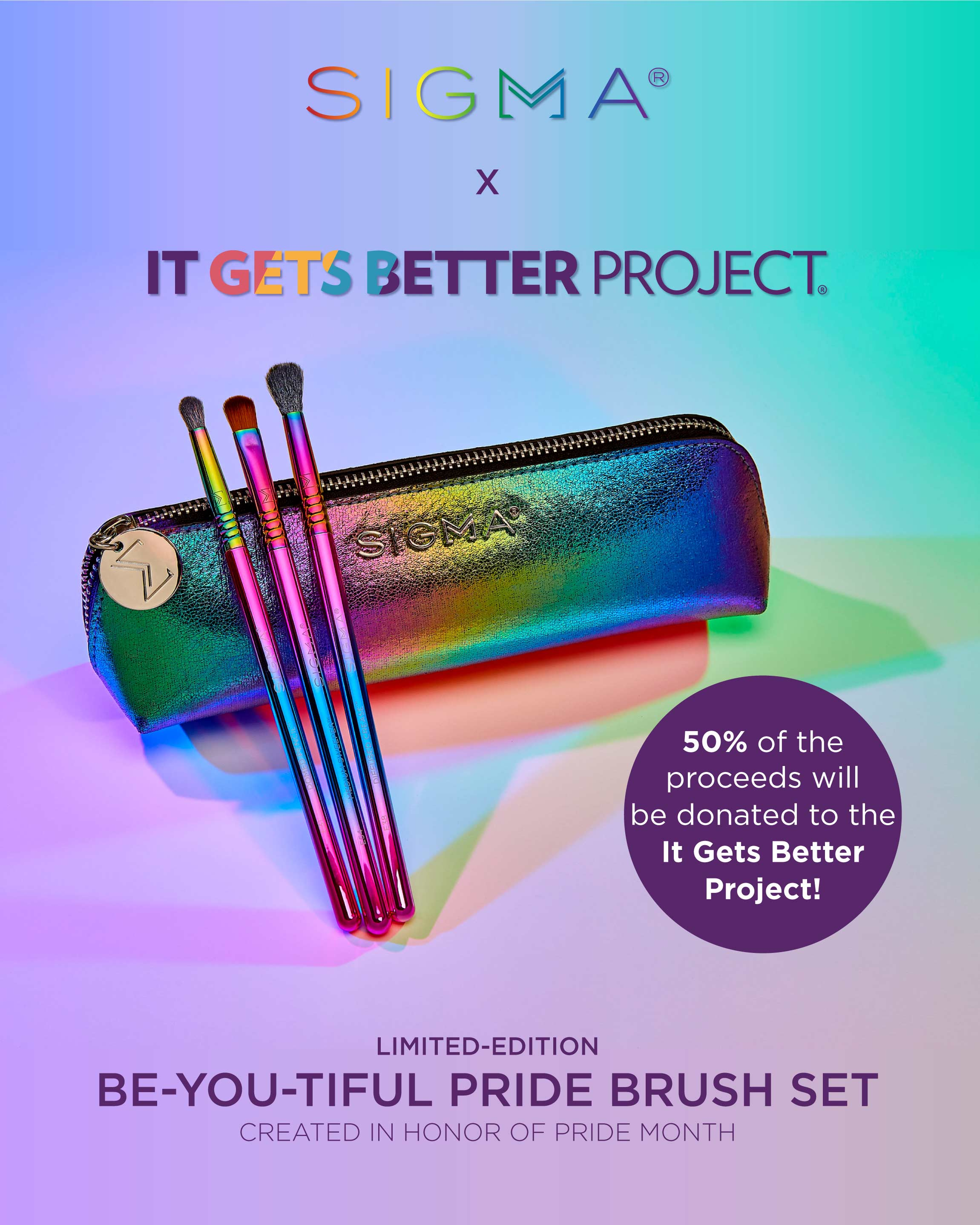 Sigma Beauty x It Gets Better Project   Be-YOU-tiful Pride Brush Set